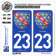 2 Autocollants plaque immatriculation Auto 23 Creuse - Armoiries