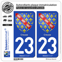 2 Autocollants plaque immatriculation Auto 23 Creuse - Armoiries