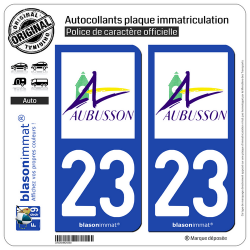 2 Autocollants plaque immatriculation Auto 23 Aubusson - Ville