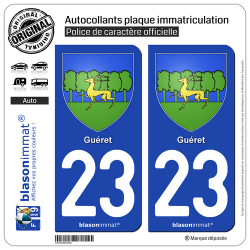 2 Autocollants plaque immatriculation Auto 23 Guéret - Armoiries