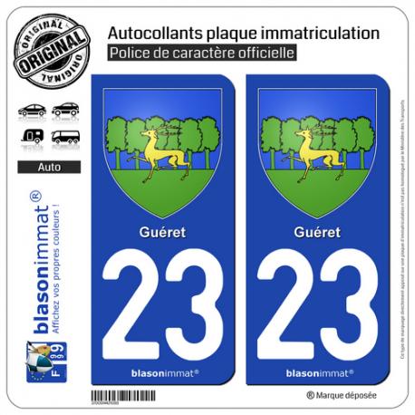 2 Autocollants plaque immatriculation Auto 23 Guéret - Armoiries