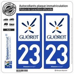 2 Autocollants plaque immatriculation Auto 23 Guéret - Ville