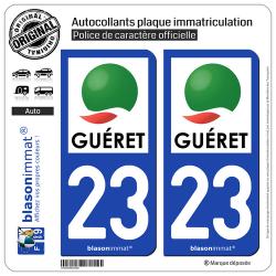 2 Autocollants plaque immatriculation Auto 23 Guéret - Agglo