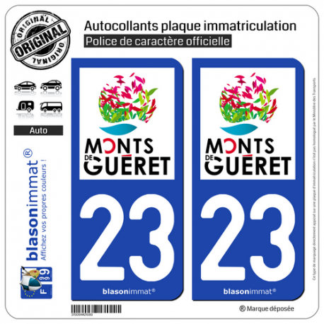 2 Autocollants plaque immatriculation Auto 23 Guéret - Pays