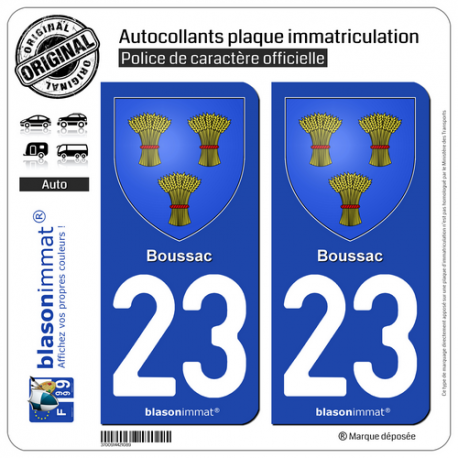 2 Autocollants plaque immatriculation Auto 23 Boussac - Armoiries