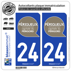2 Autocollants plaque immatriculation Auto 24 Périgueux - Ville