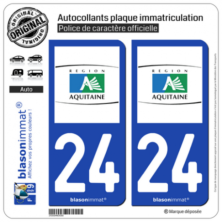 2 Autocollants plaque immatriculation Auto 24 Aquitaine - Tourisme