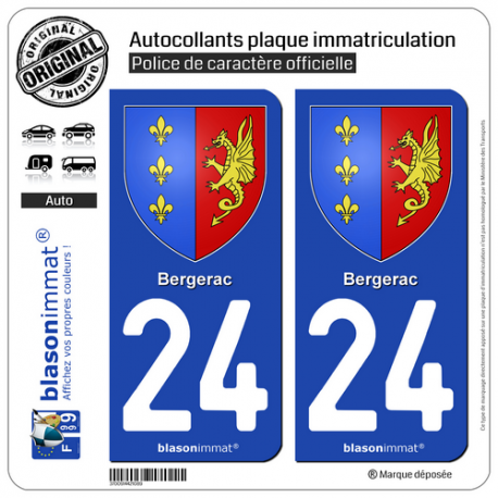 2 Autocollants plaque immatriculation Auto 24 Bergerac - Armoiries