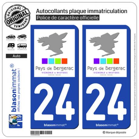 2 Autocollants plaque immatriculation Auto 24 Bergerac - Tourisme