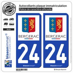 2 Autocollants plaque immatriculation Auto 24 Bergerac - Ville