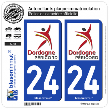 2 Autocollants plaque immatriculation Auto 24 Dordogne - Département