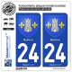 2 Autocollants plaque immatriculation Auto 24 Nontron - Armoiries