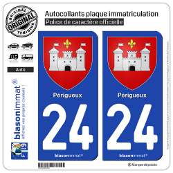 2 Autocollants plaque immatriculation Auto 24 Périgueux - Armoiries