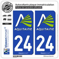 2 Autocollants plaque immatriculation Auto 24 Aquitaine - Nostalgie