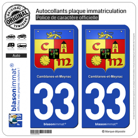 2 Autocollants plaque immatriculation Auto 33 Camblanes-et-Meynac - Armoiries
