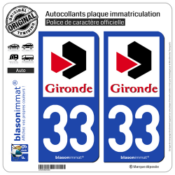 2 Autocollants plaque immatriculation Auto 33 Gironde - Département