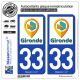 2 Autocollants plaque immatriculation Auto 33 Gironde - Tourisme