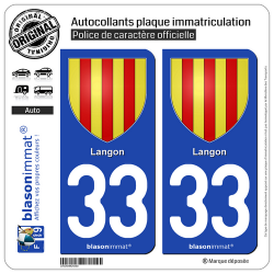 2 Autocollants plaque immatriculation Auto 33 Langon - Armoiries