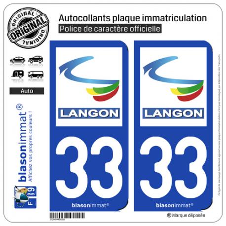 2 Autocollants plaque immatriculation Auto 33 Langon - Ville