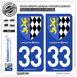 2 Autocollants plaque immatriculation Auto 33 Lesparre-Médoc - Armoiries