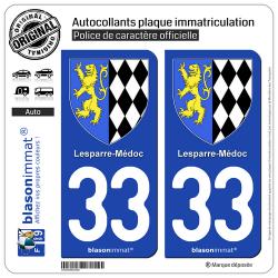 2 Autocollants plaque immatriculation Auto 33 Lesparre-Médoc - Armoiries