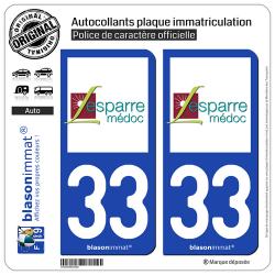 2 Autocollants plaque immatriculation Auto 33 Lesparre-Médoc - Ville