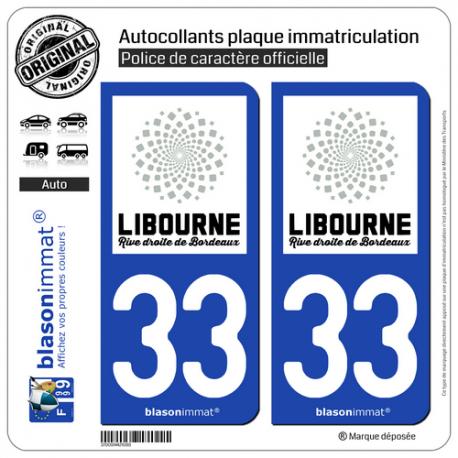 2 Autocollants plaque immatriculation Auto 33 Libourne - Agglo