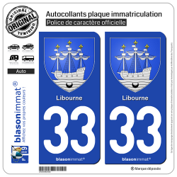 2 Autocollants plaque immatriculation Auto 33 Libourne - Armoiries