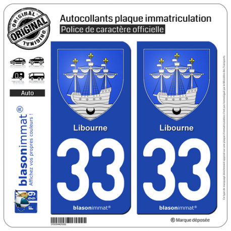 2 Autocollants plaque immatriculation Auto 33 Libourne - Armoiries