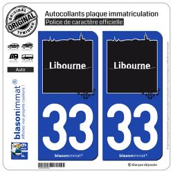 2 Autocollants plaque immatriculation Auto 33 Libourne - Ville