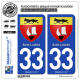 2 Autocollants plaque immatriculation Auto 33 Saint-Loubès - Armoiries