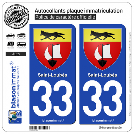 2 Autocollants plaque immatriculation Auto 33 Saint-Loubès - Armoiries