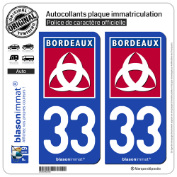 2 Autocollants plaque immatriculation Auto 33 Bordeaux - Ville
