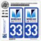 2 Autocollants plaque immatriculation Auto 33 Bordeaux - Patrimoine