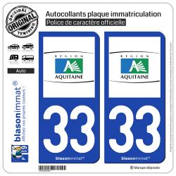 2 Autocollants plaque immatriculation Auto 33 Aquitaine - Tourisme