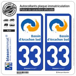 2 Autocollants plaque immatriculation Auto 33 Arcachon - Agglo