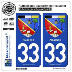 2 Autocollants plaque immatriculation Auto 33 Arcachon - Armoiries