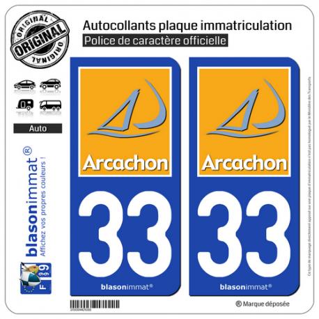 2 Autocollants plaque immatriculation Auto 33 Arcachon - Tourisme