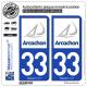 2 Autocollants plaque immatriculation Auto 33 Arcachon - Ville