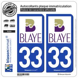 2 Autocollants plaque immatriculation Auto 33 Blaye - Agglo