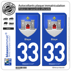 2 Autocollants plaque immatriculation Auto 33 Blaye - Armoiries