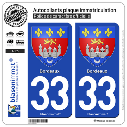 2 Autocollants plaque immatriculation Auto 33 Bordeaux - Armoiries