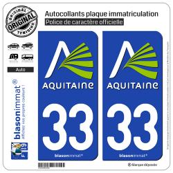 2 Autocollants plaque immatriculation Auto 33 Aquitaine - Nostalgie