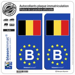 2 Autocollants plaque immatriculation Auto B Belgique Drapeau - Identifiant - Européen
