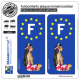 2 Autocollants plaque immatriculation Auto F Tahiti Hinano - Identifiant Européen