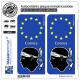 2 Autocollants plaque immatriculation Auto Corsica - Identifiant Européen
