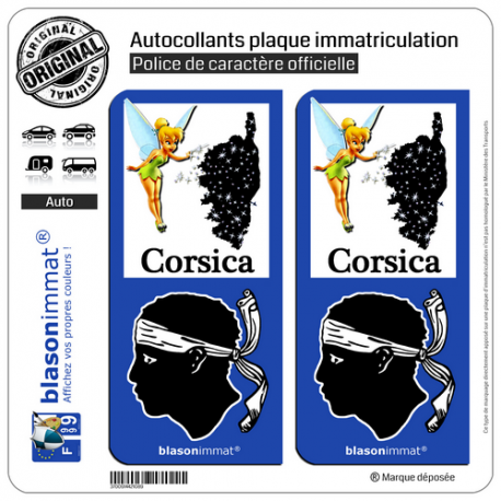 2 Autocollants plaque immatriculation Auto Corsica Fée Clochette - Identifiant Européen
