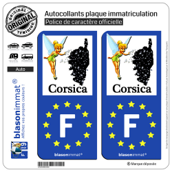 2 Autocollants plaque immatriculation Auto F Corsica Fée Clochette Identifiant Européen
