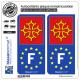 2 Autocollants plaque immatriculation Auto F Occitanie - Identifiant Européen
