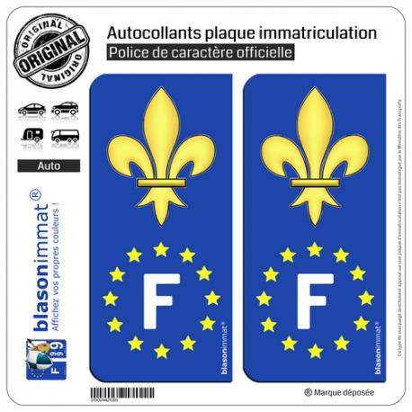 2 Autocollants plaque immatriculation Auto F Fleur de Lys - Identifiant Européen